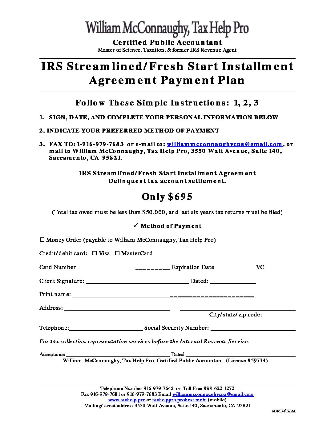 IRS Streamlined Fresh Start Payment Plan
