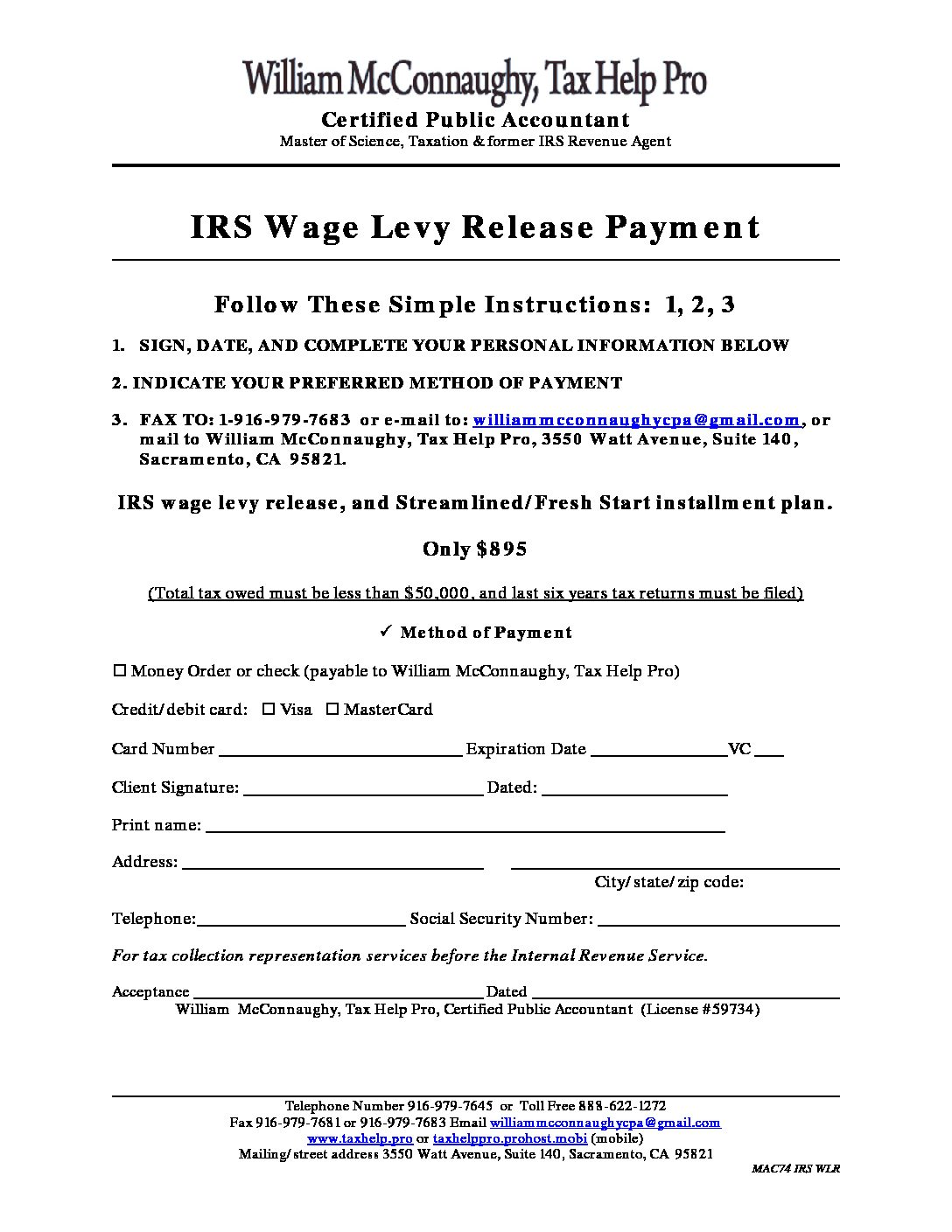 Wage Levy Release Payment Plan